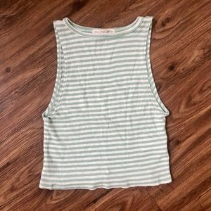 Urban Outfitters Green Striped High Neck Crop Top